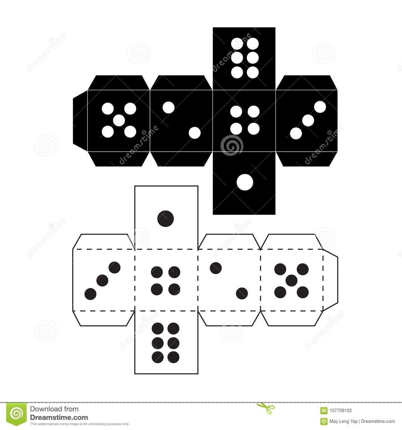 Paper craft dice template stock illustration illustration of board download comp maxwellsz