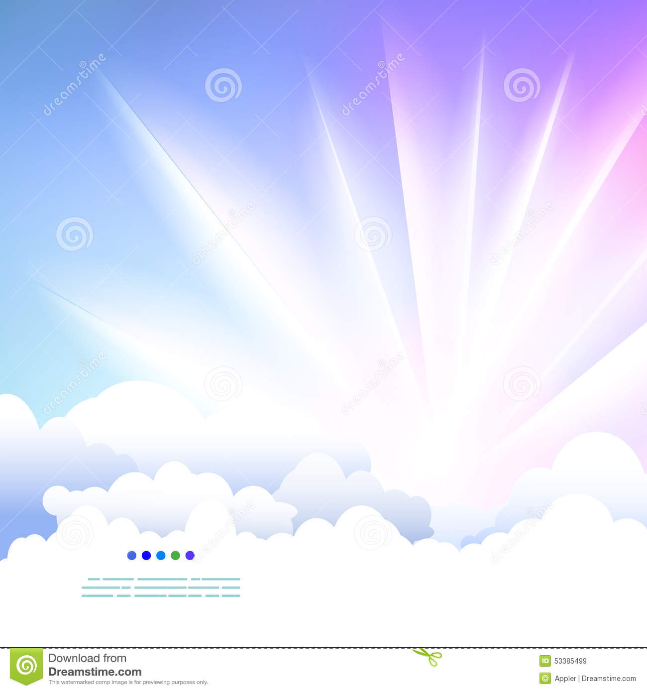Download Easy Drawing Sky With Clouds And Sunshine Stock Vector