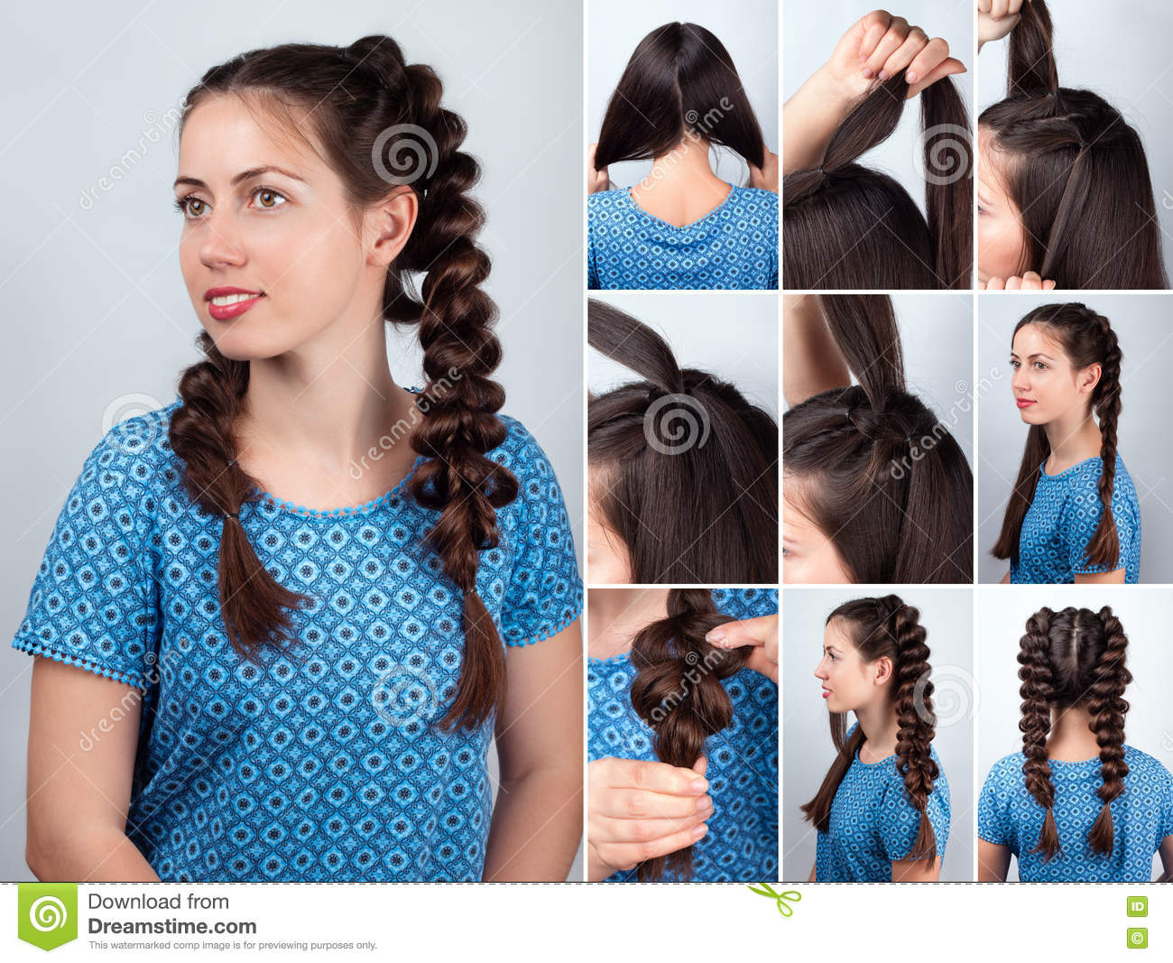 Hairstyles Braids Download: Easy Hairstyle Braids For Long Hair Tutorial Stock Image