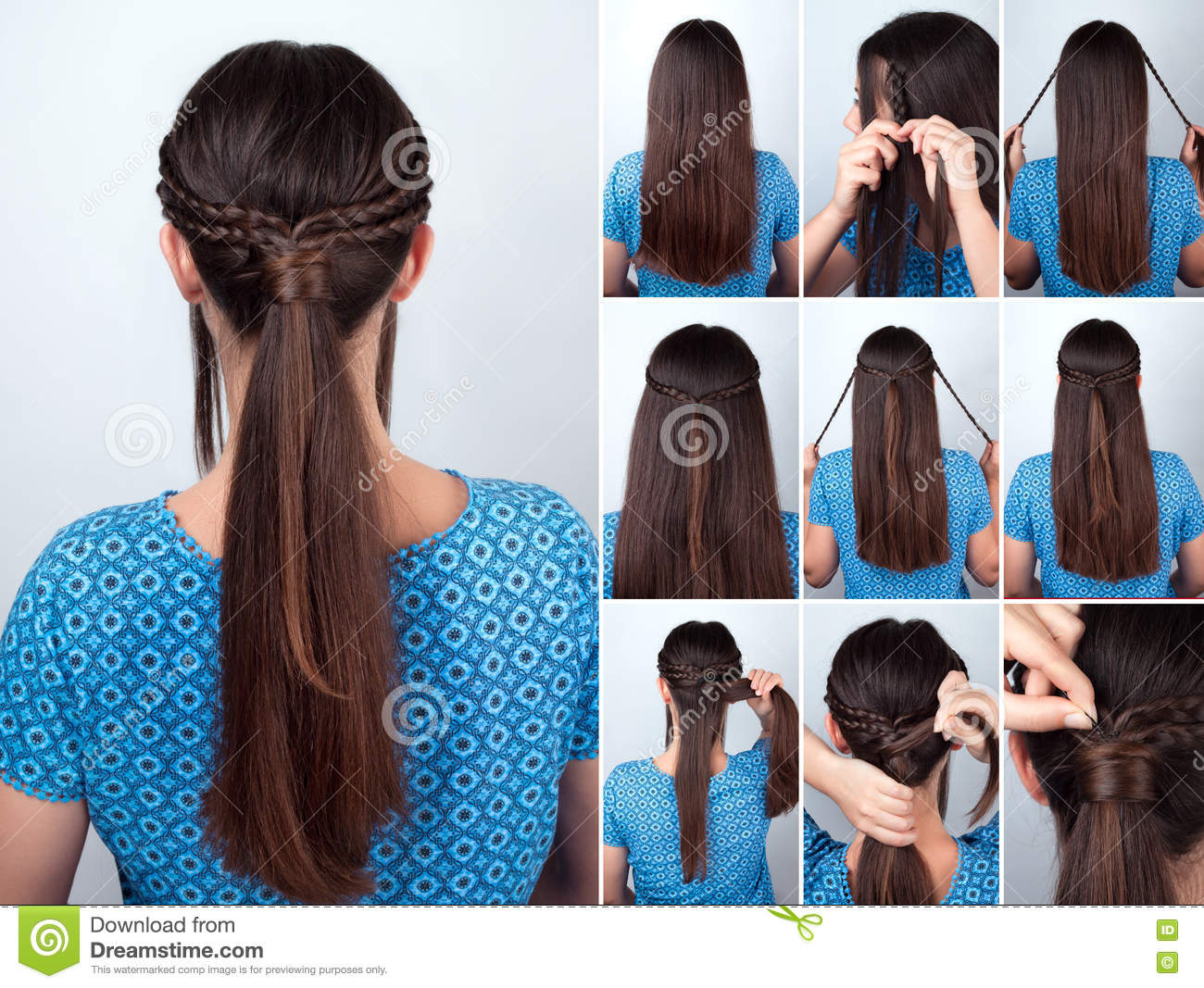 Pleasing Easy Hairstyle Pony Tail With Plaits Hair Tutorial Stock Image Schematic Wiring Diagrams Phreekkolirunnerswayorg