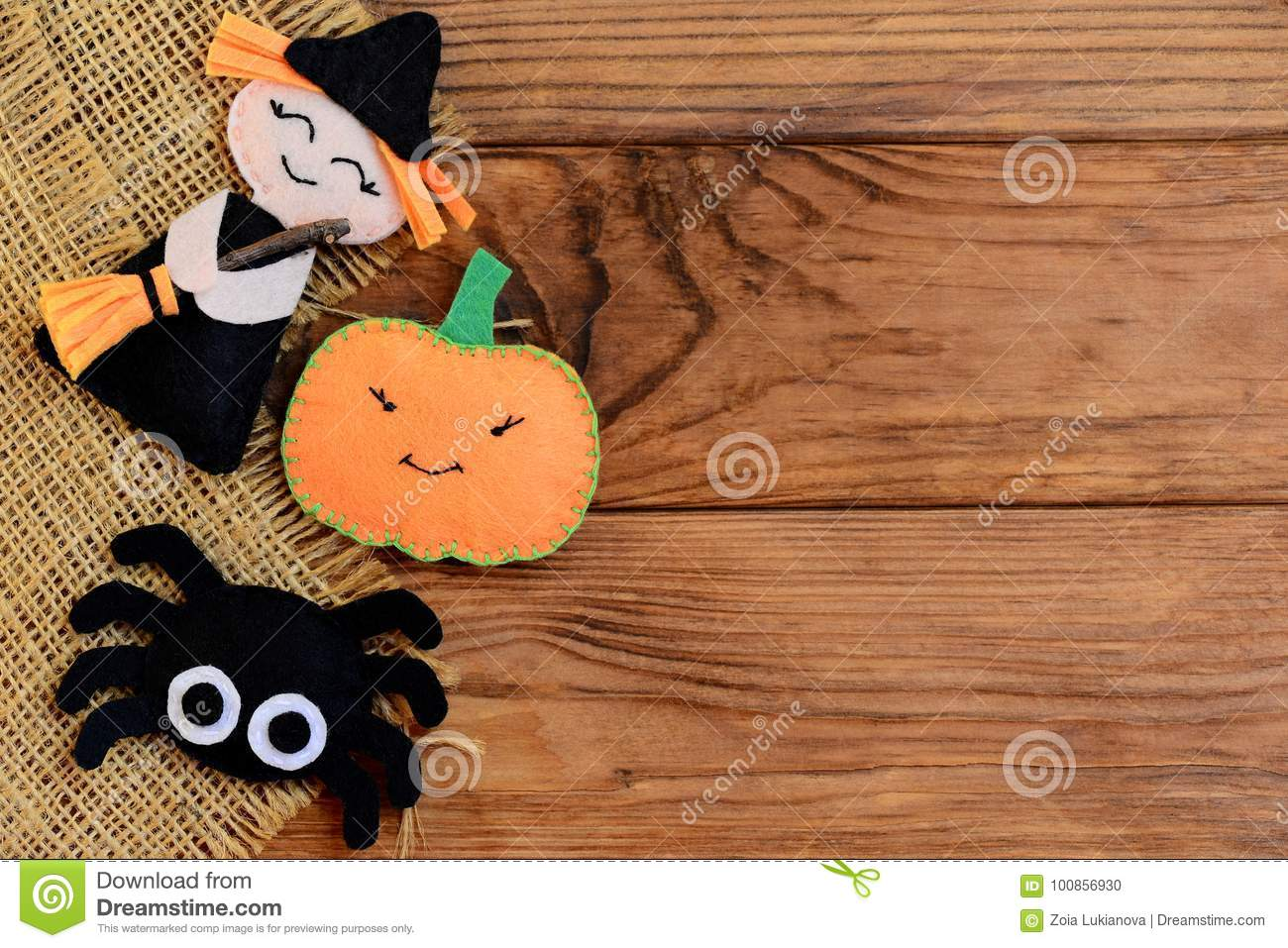 easy halloween crafts. felt witch, pumpkin, spider ornaments on a