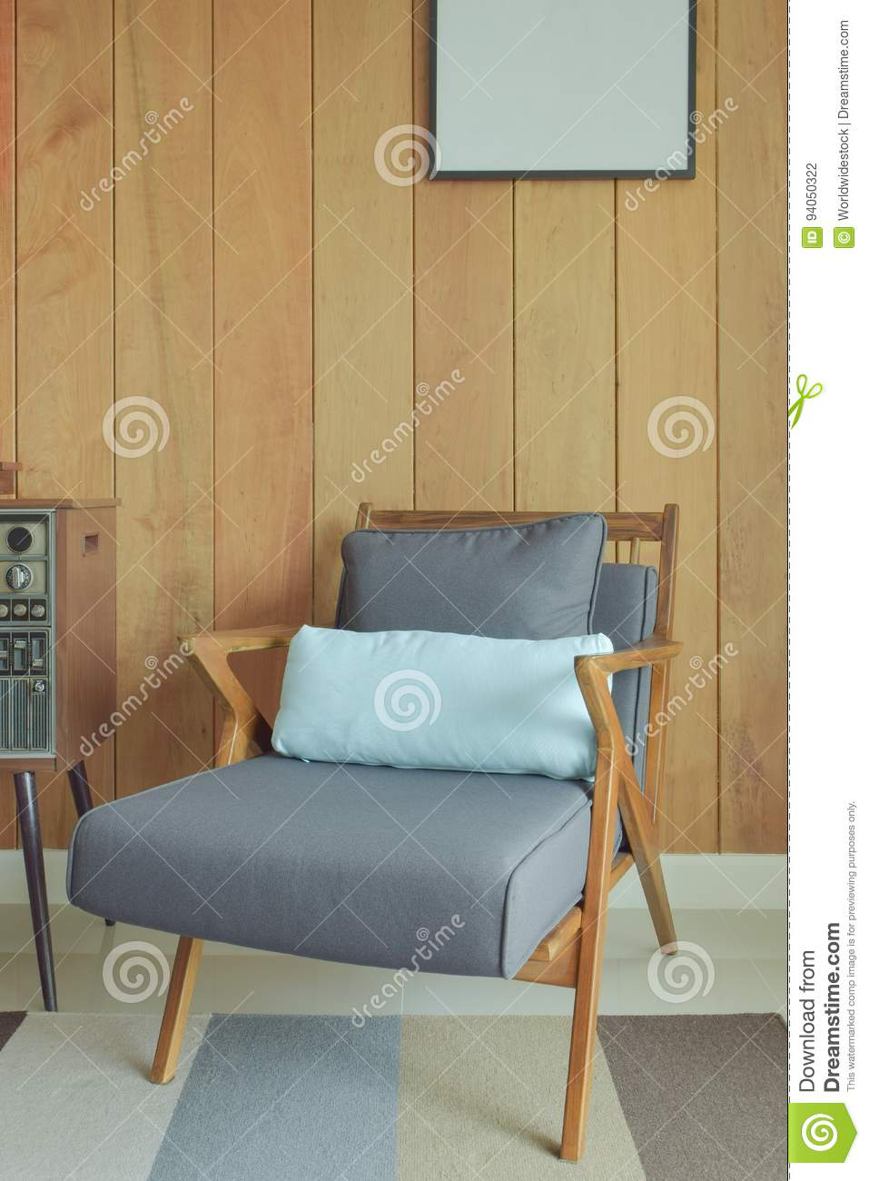 Easy Lounge Chair With Wooden Wall Background In Retro Style Stock  # Easylounge Meuble Tv