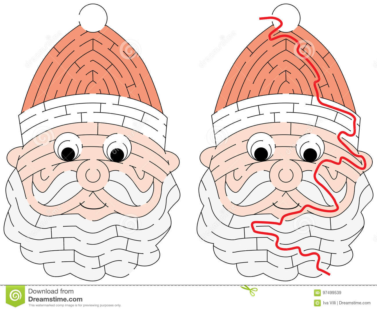 Easy Santa Claus Maze Stock Vector Illustration Of Drawing 97499539