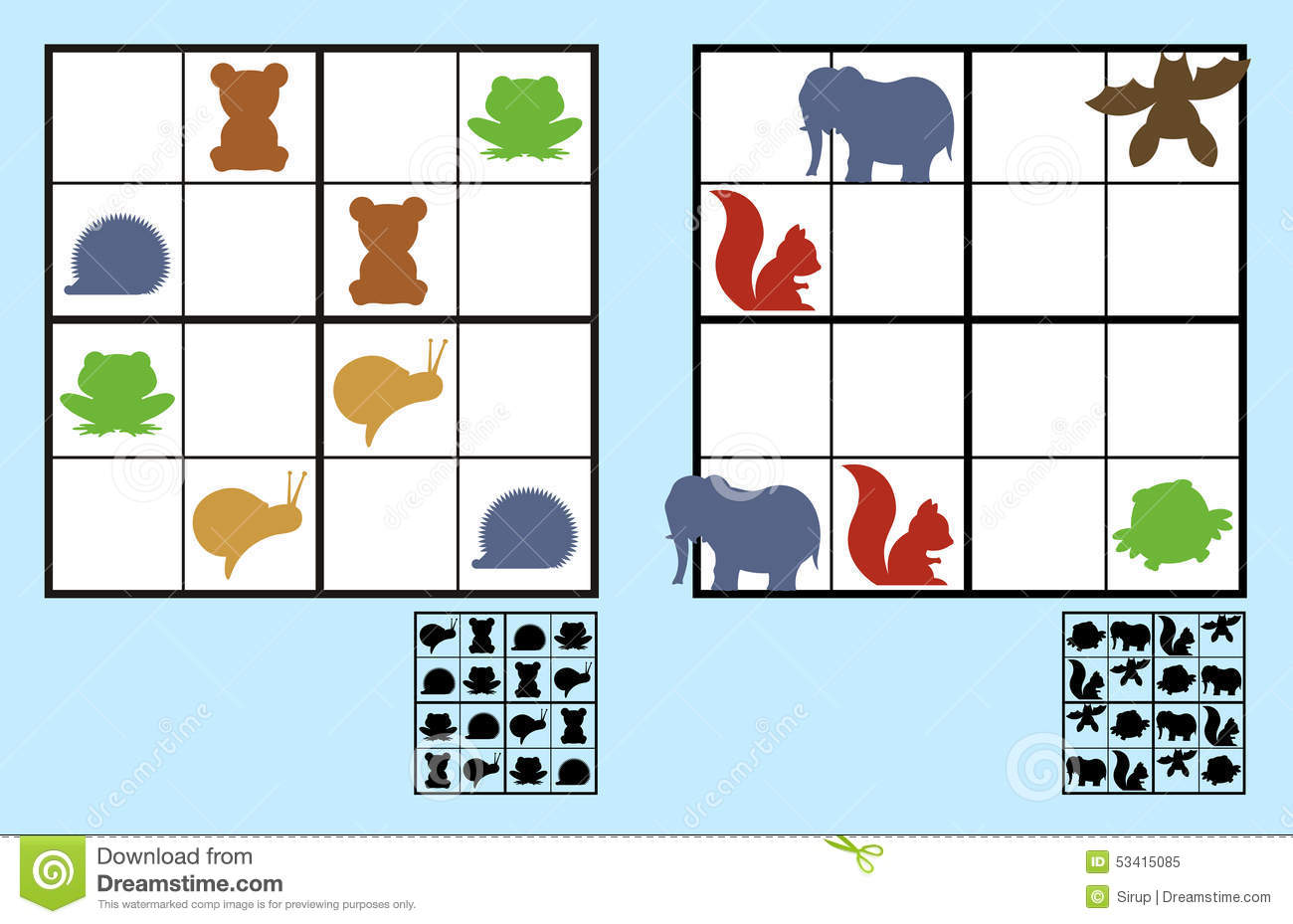 Easy Sudoku Puzzle With Animals For Children Stock Vector ...