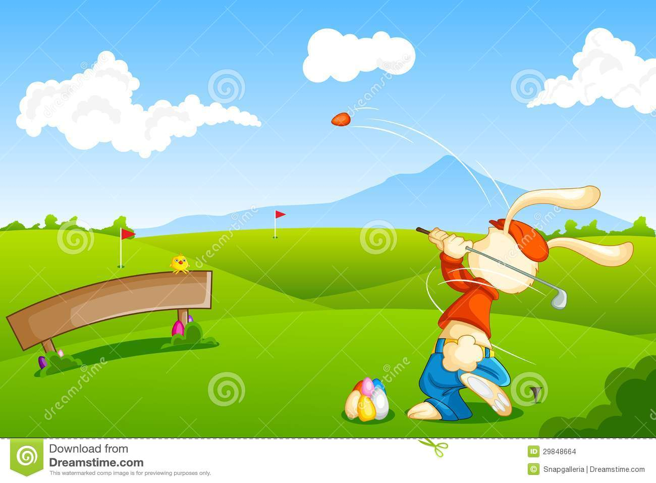bunny playing golf with easter egg stock images image