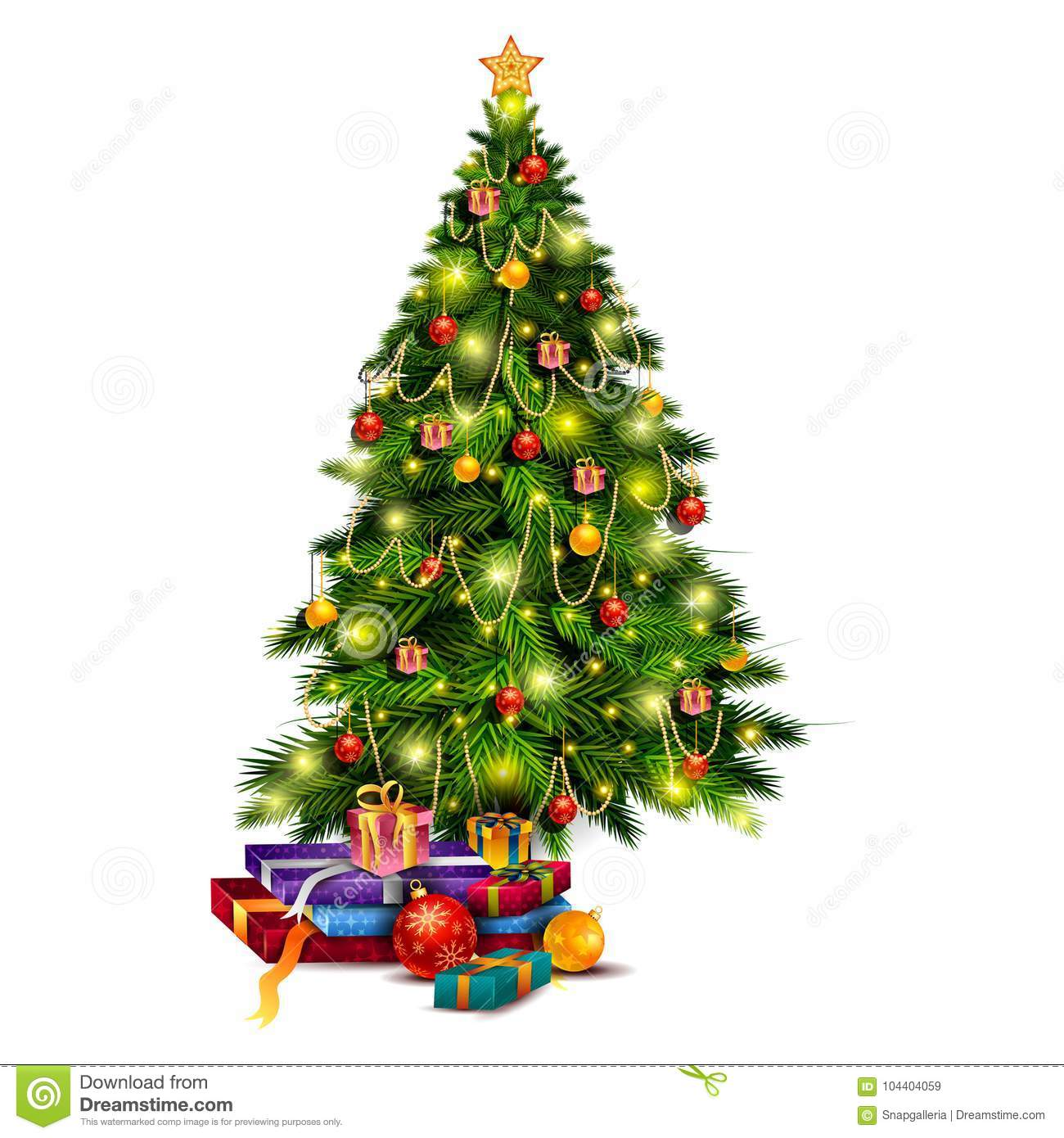 Gift Box And Decoration For Happy New Year And Merry Christmas