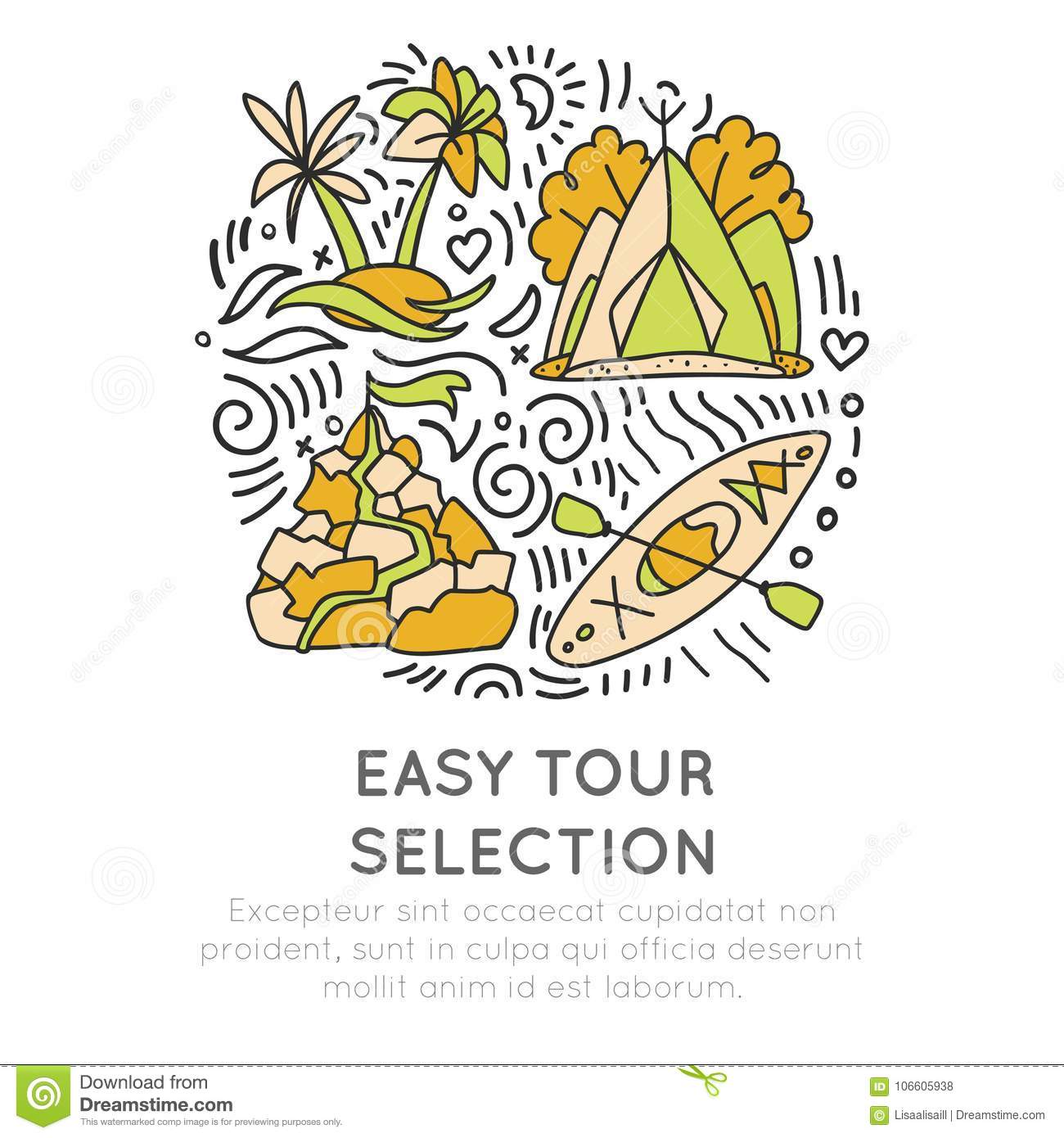 Easy Travelling Tour Selection Hand Draw Cartoon Icon Concept Round Traveling Icons In Circle With