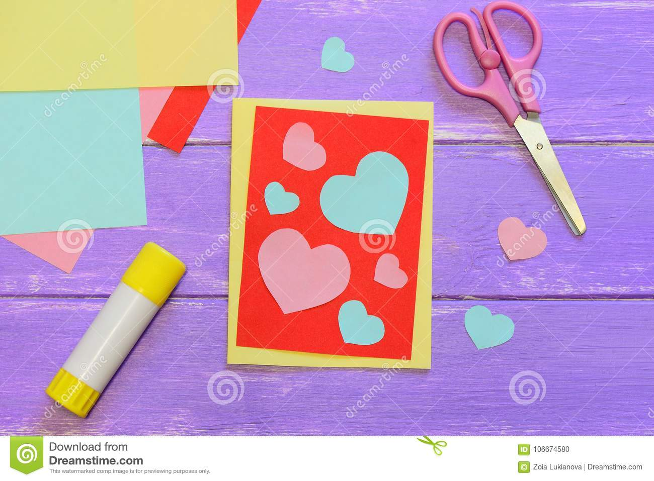 Cute Valentines Day Card Made From Colored Paper Scissirs Glue