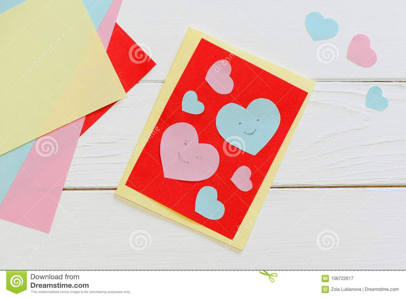 Valentines Day Card With Pink And Blue Hearts Scissors Glue Stick