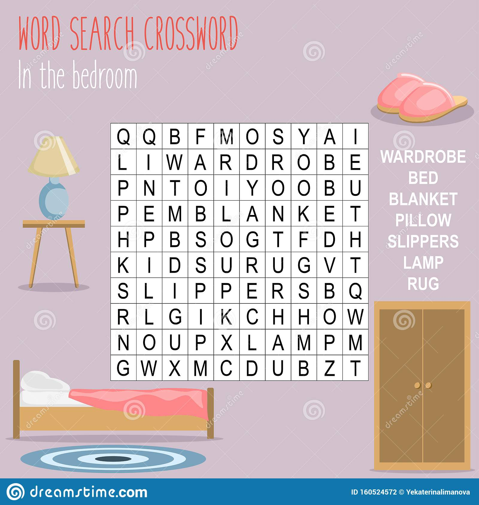 Easy Word Search Crossword Puzzle In The Bedroom Stock Vector Illustration Of Clues Cartoon 160524572