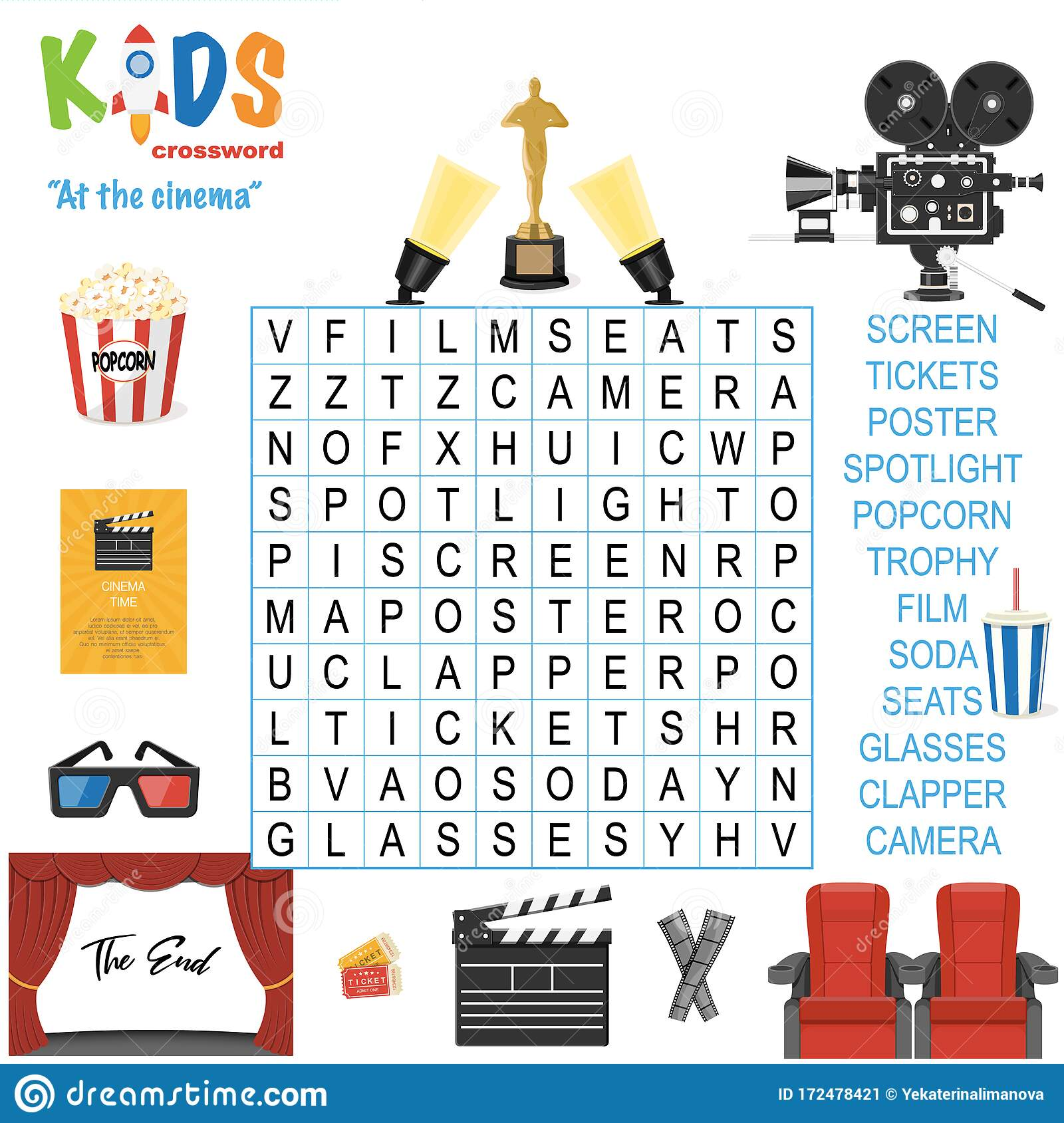 Easy Word Search Crossword Puzzle  At The Cinema   Stock Vector