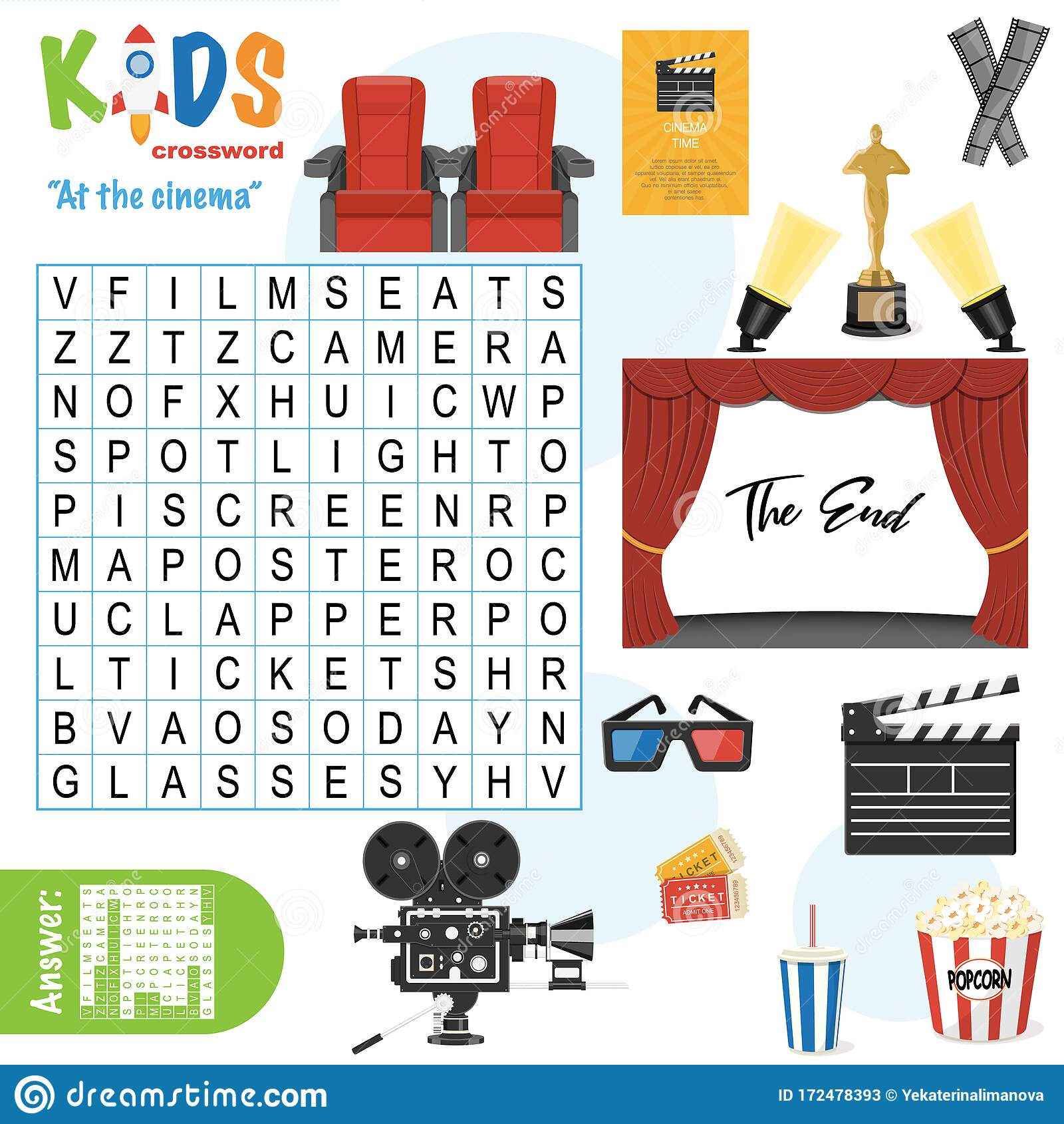 Easy Word Search Crossword Puzzle  At The Cinema  Stock