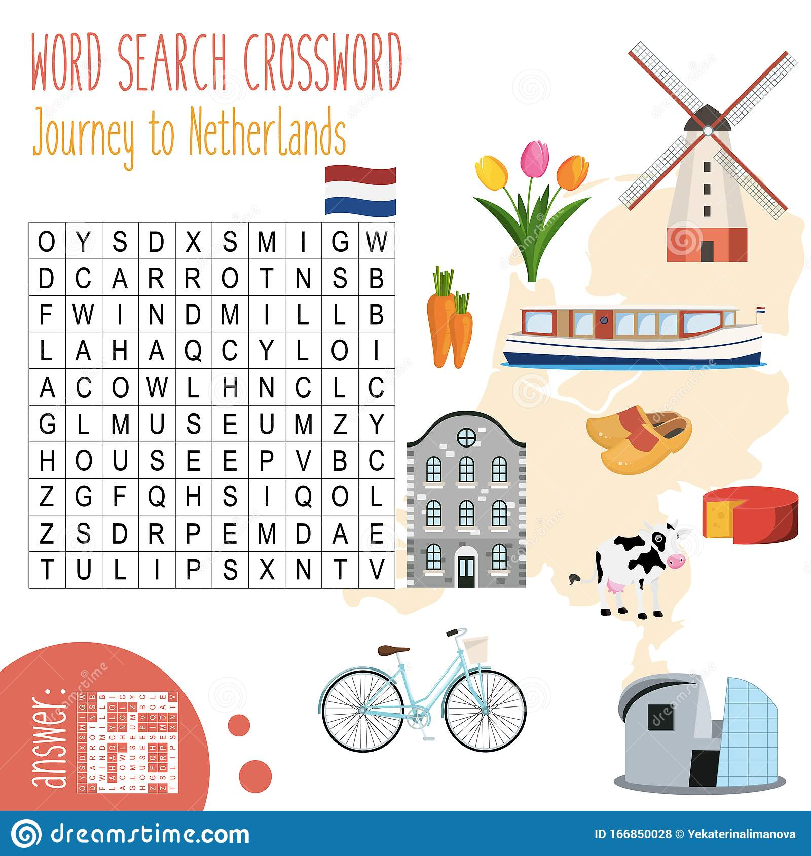 Easy Word Search Crossword Puzzle  Journey To Netherlands