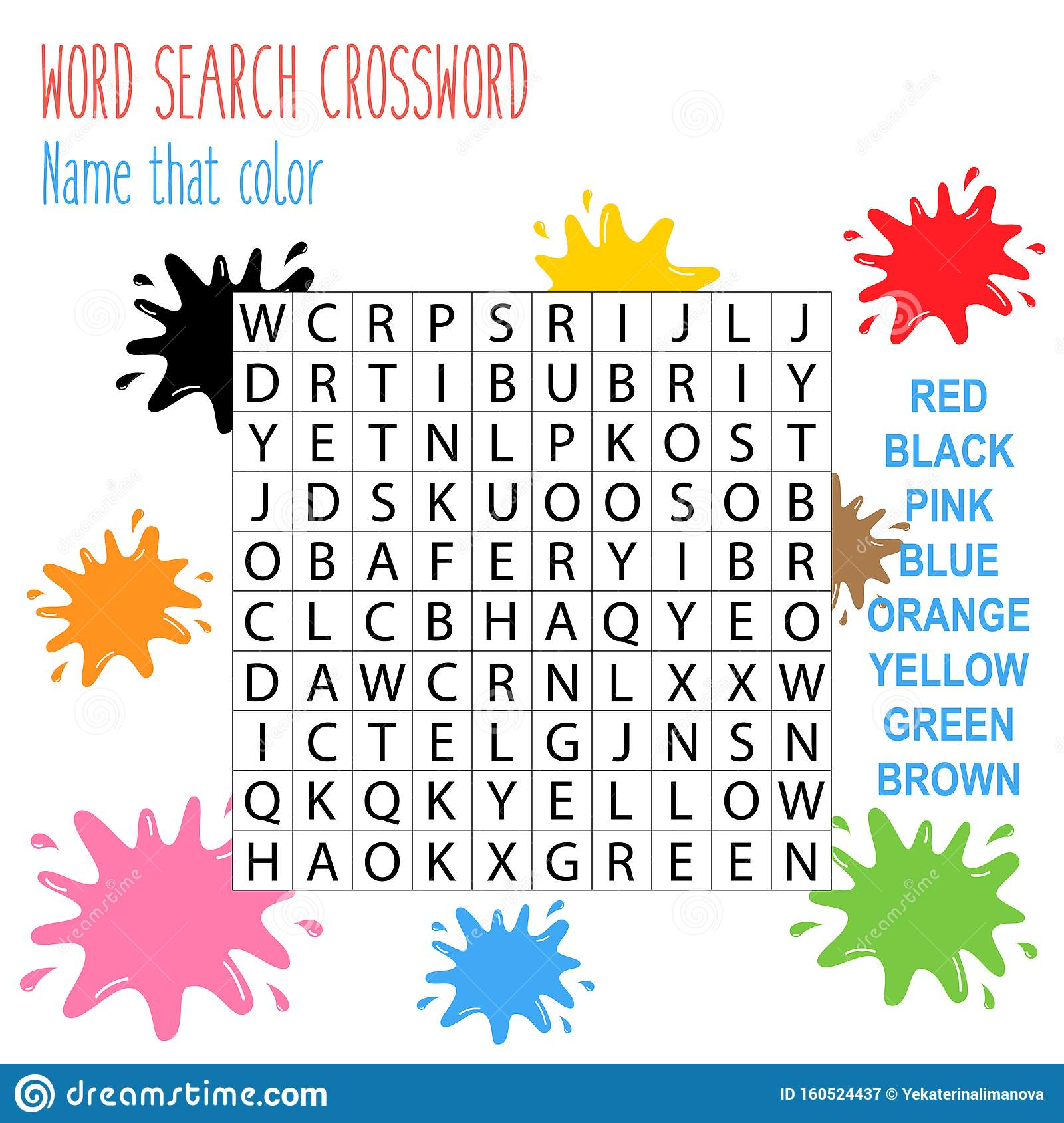 Easy Word Search Crossword Puzzle Name That Color Stock Vector