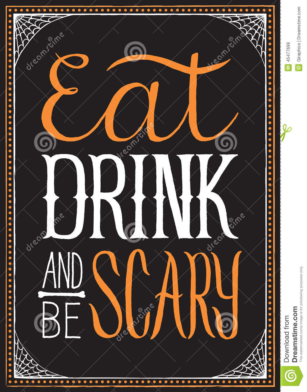 Eat, Drink And Be Scary Halloween Background Stock Vector - Image: 45477699