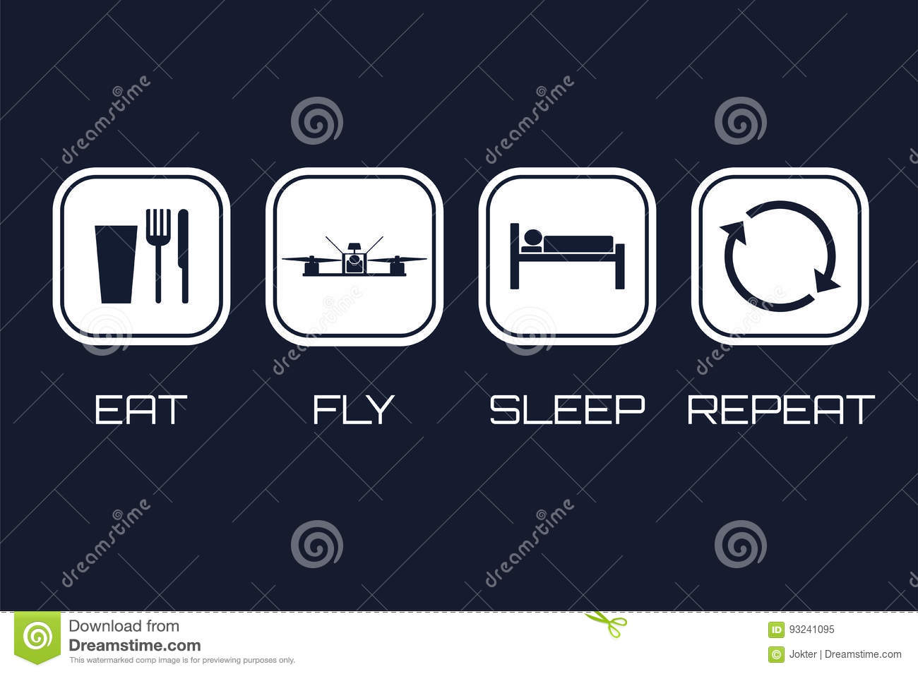 Eat Fly Sleep Repeat Icons Funny Schedule For Racing Quadrocopt