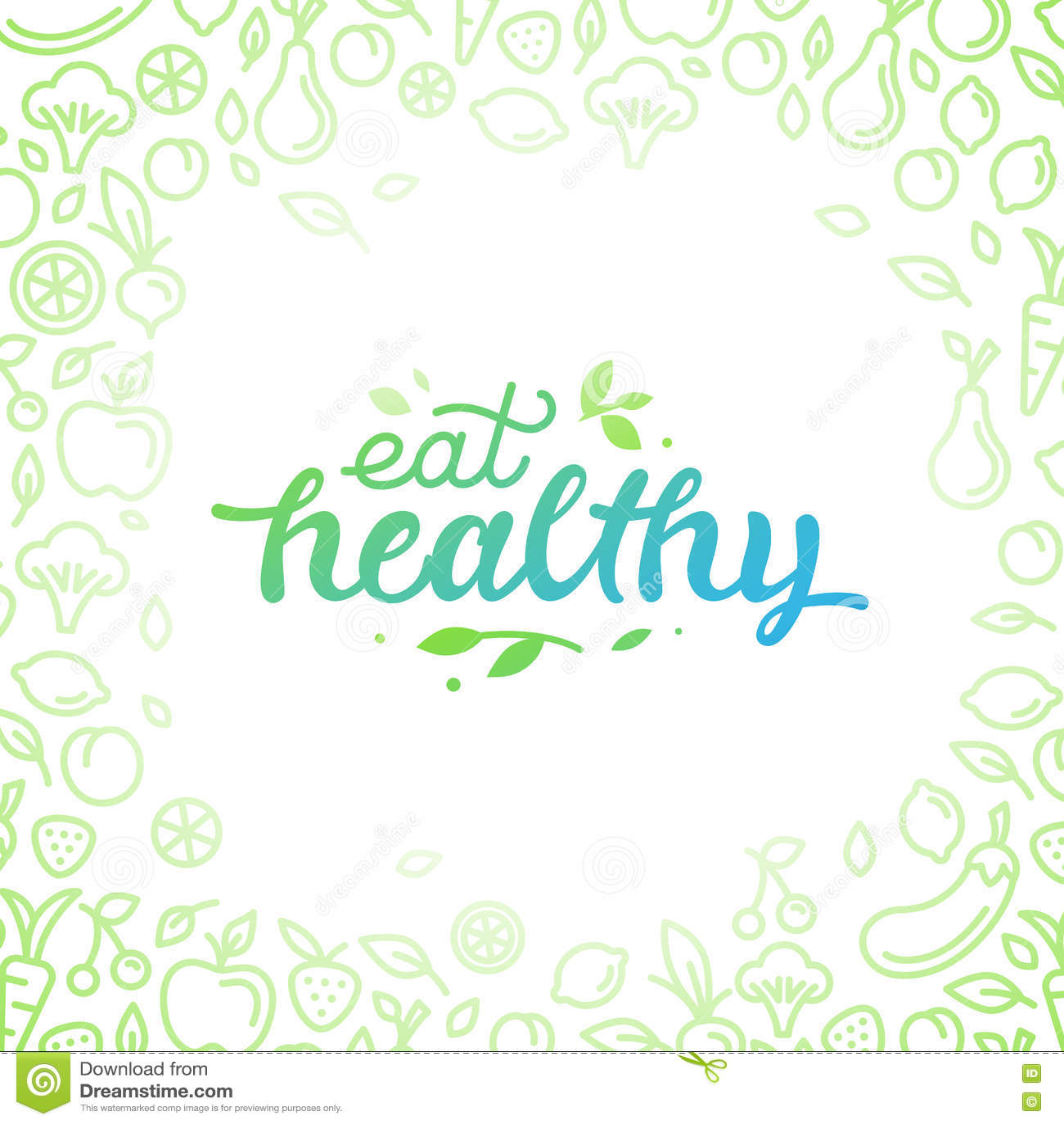 Eat healthy - motivational poster or banner