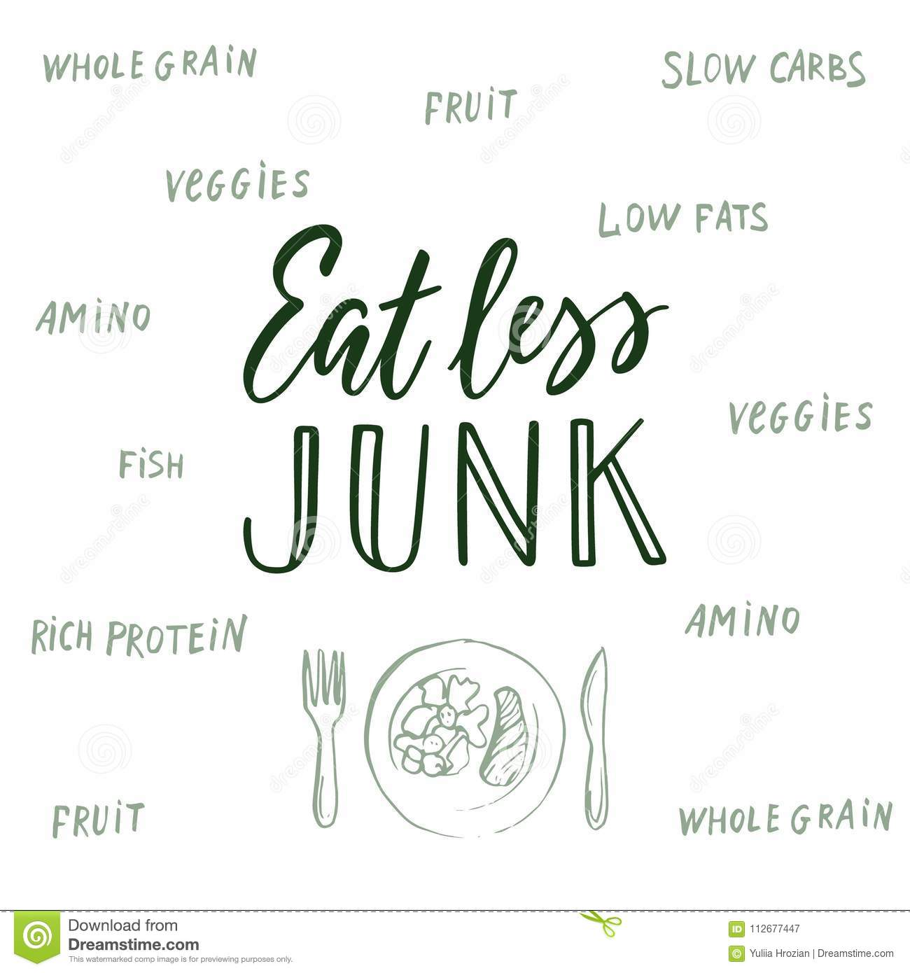 Eat Less Junk! Calligraphic Quote And Background About ...