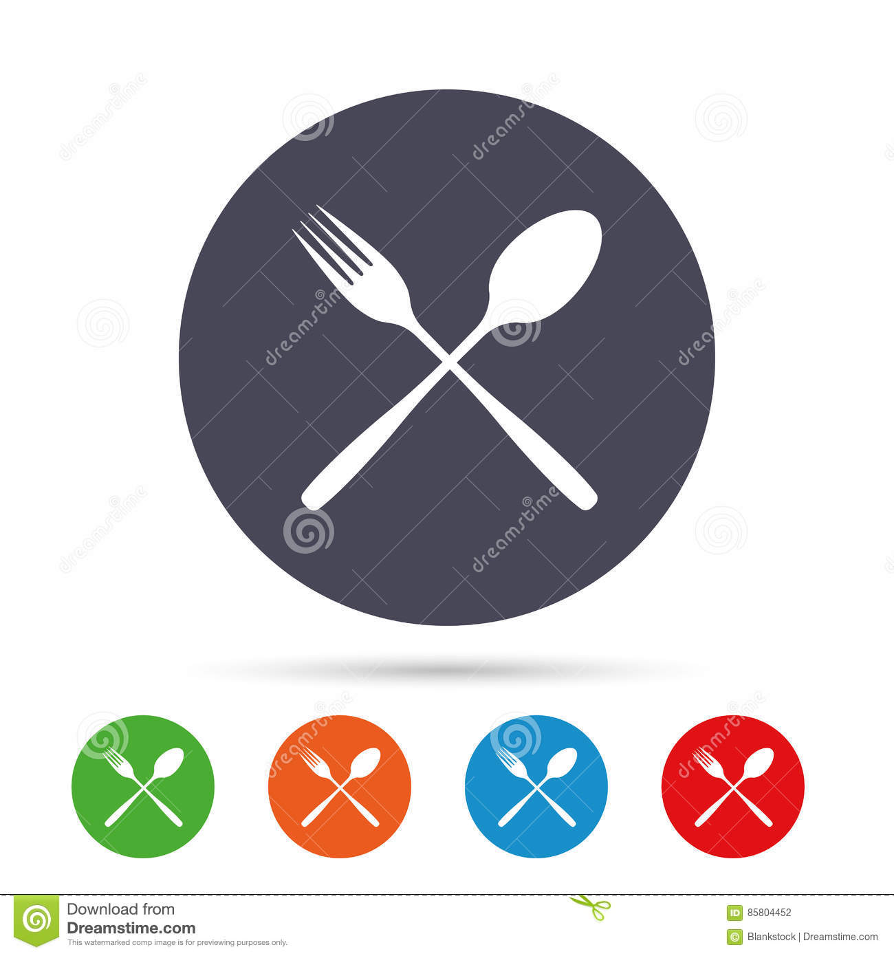 Eat Sign Icon Cutlery Symbol Fork And Spoon Stock Vector