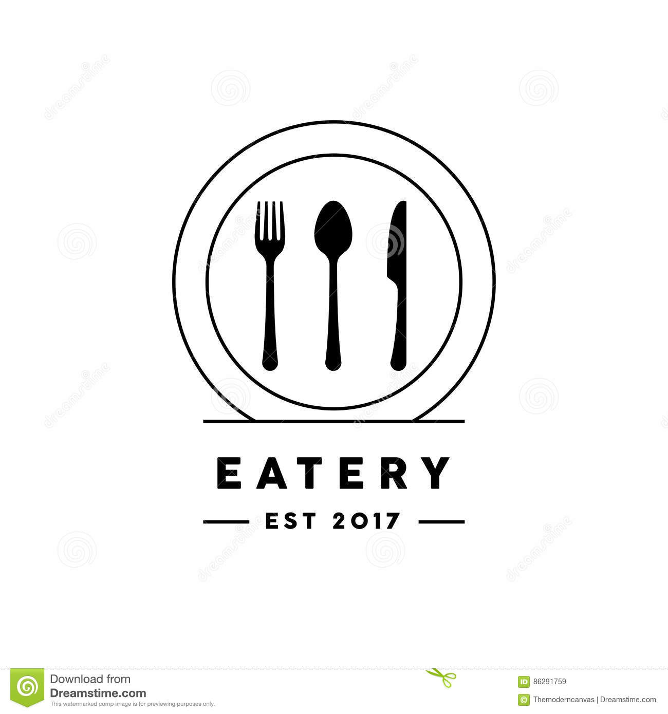 restaurant logo fork cartoon vector
