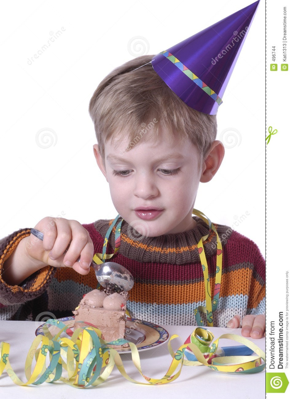 Eating The Birthday Cake Stock Images - Image: 496744