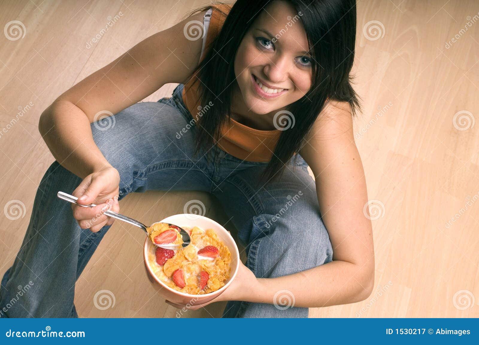 Download Eating breakfast stock image. Image of fruit, milk, smile - 1530217