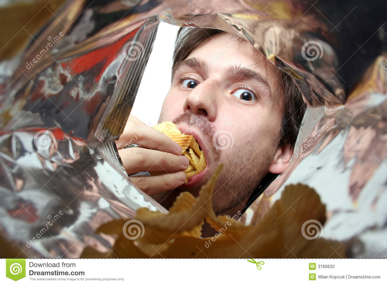 Eating chips stock photography image 3160632