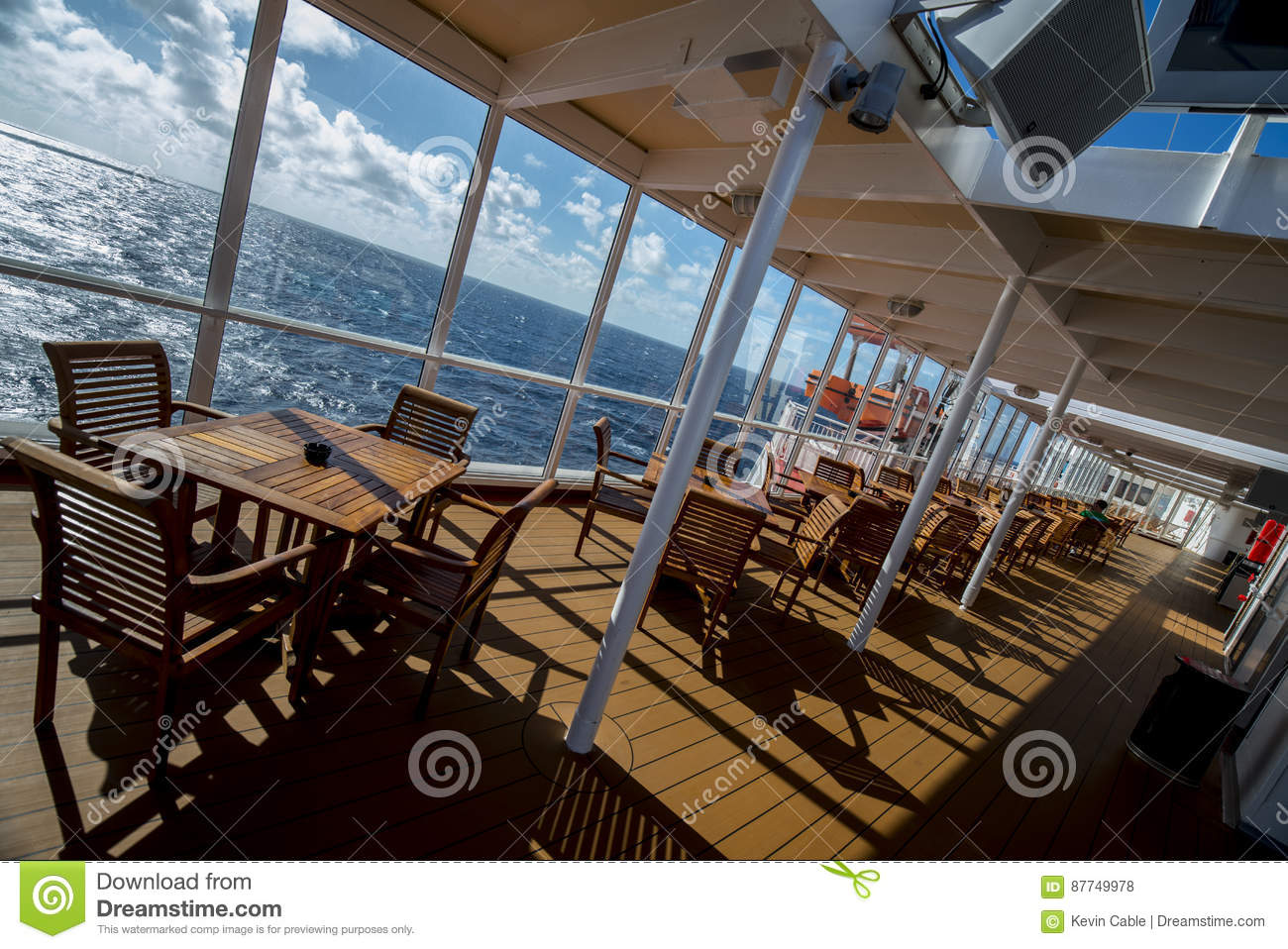 Eating Deck Of A Cruise Ship On Angle Editorial Stock ...