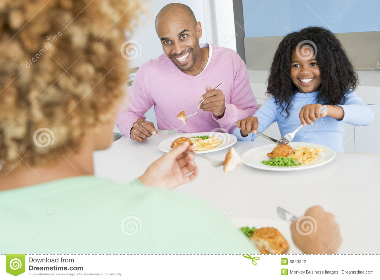 Eating family meal mealtime together