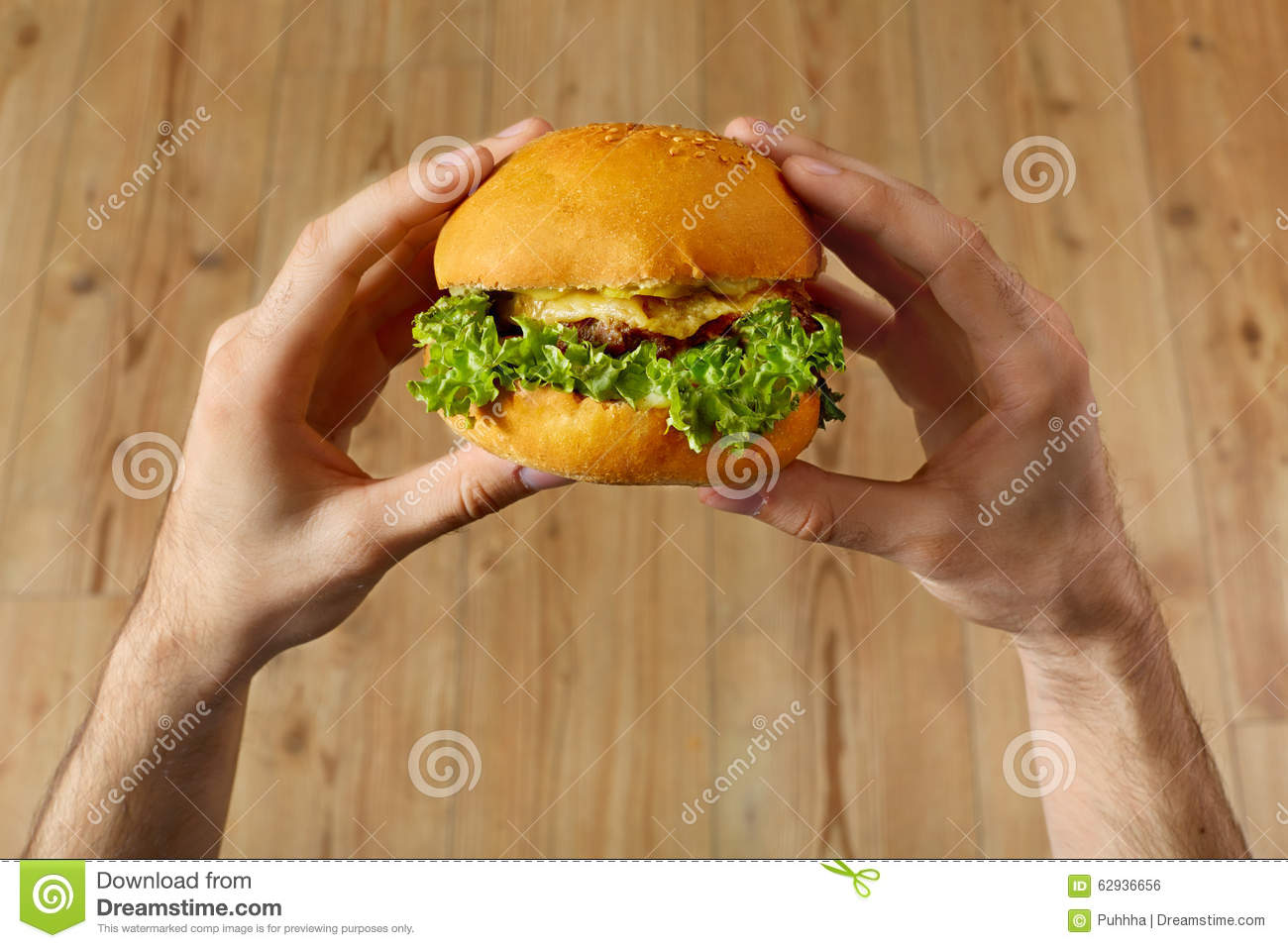 Eating Fast Food. Hands Holding Hamburger. Point Of View ...