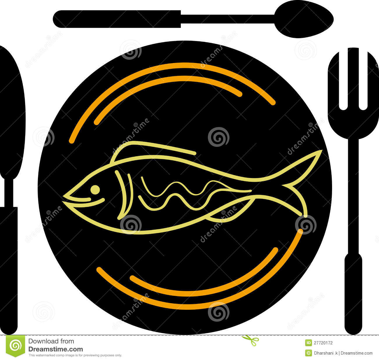 Illustration art of a eating fish logo with isolated background.