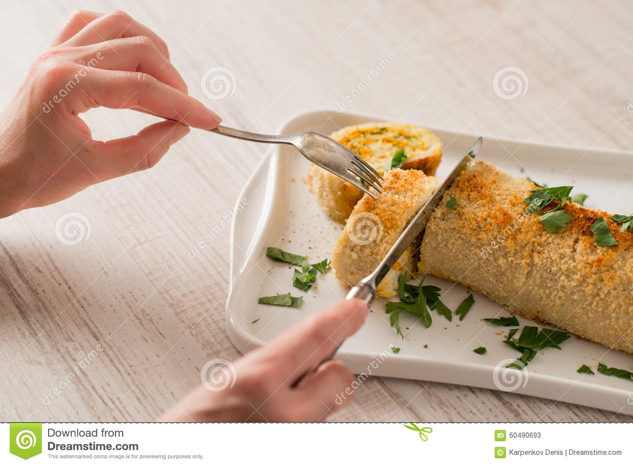 Eating fish roll with greens and carrots stock image for Dreaming of eating fish