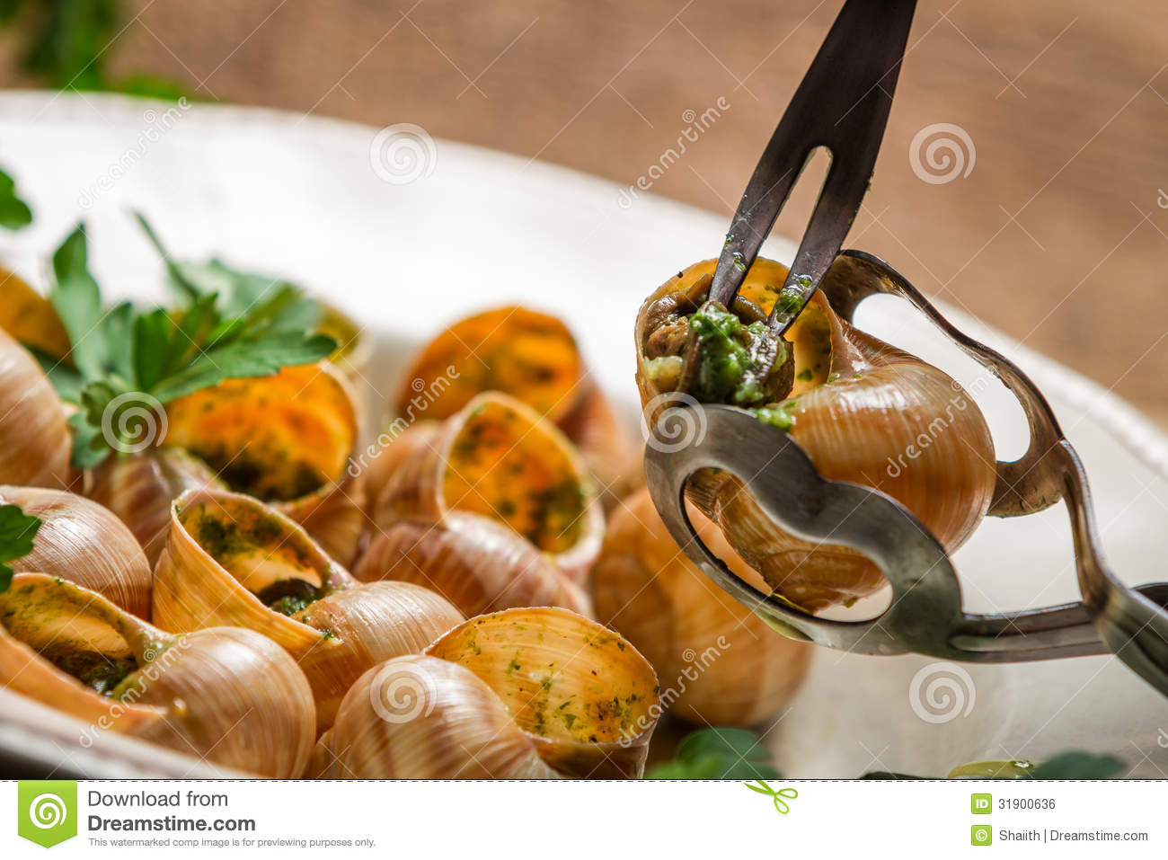 eating the fried snails with garlic butter royalty free