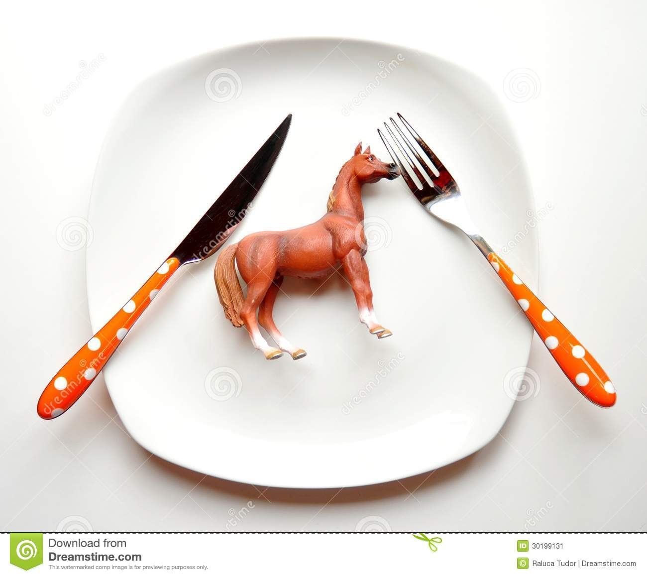 Stock Image Eating Horse Meat Concept European Scandal Horse Meat Beef Meat Horse Toy White Plate Fork Knife Image30199131 on animal farm landscape