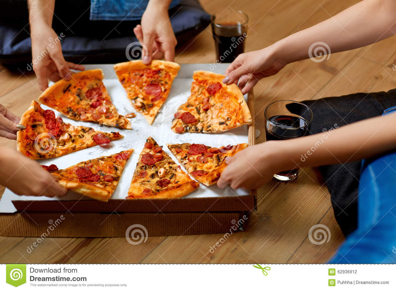 Eating Pizza Group Of Friends Sharing Pizza Fast Food