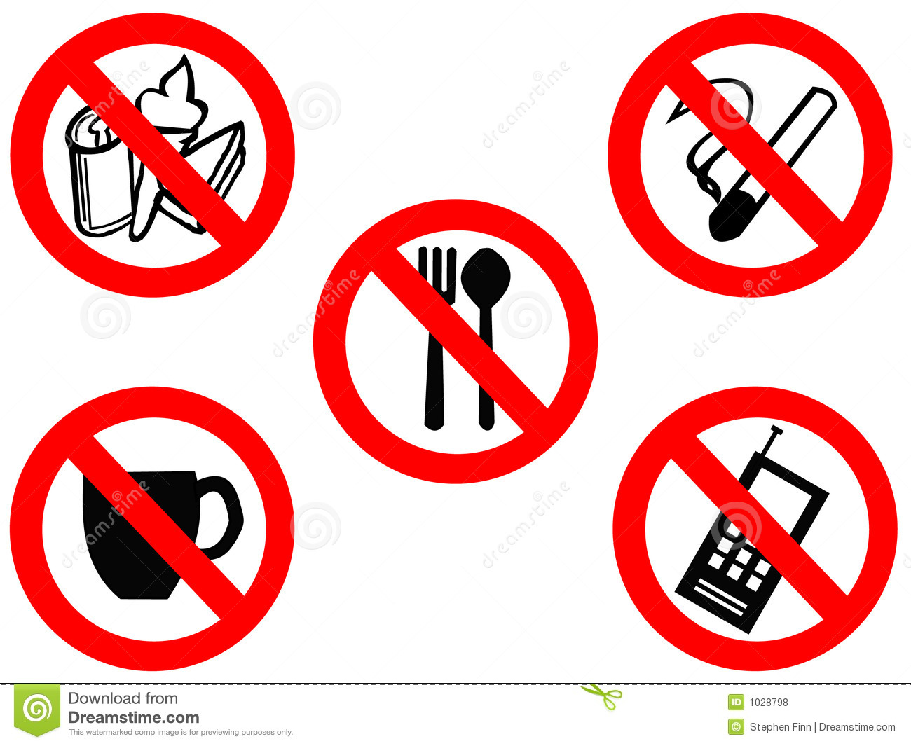 Eating Smoking Prohibited Signs Royalty Free Stock Photos