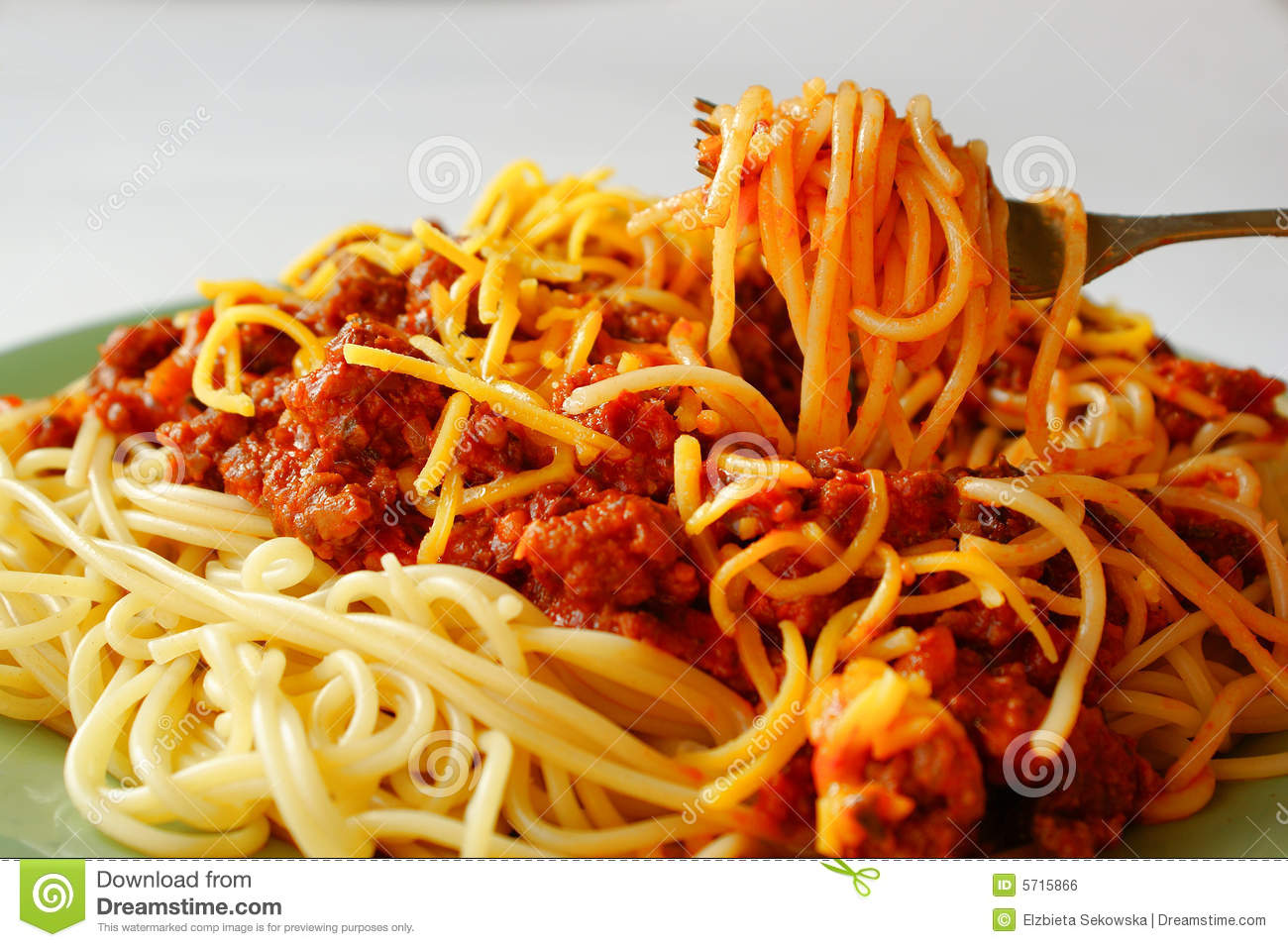 Plate with home-made spaghetti alla bolognese (with meat, tomato and ...