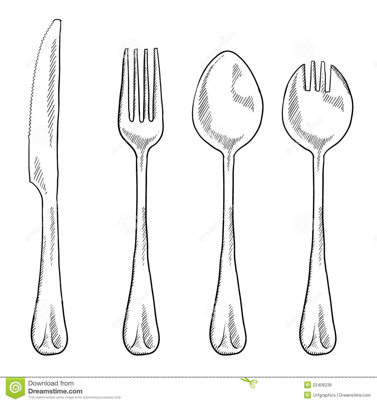 Eating Utensils Drawing Stock Vector. Illustration Of