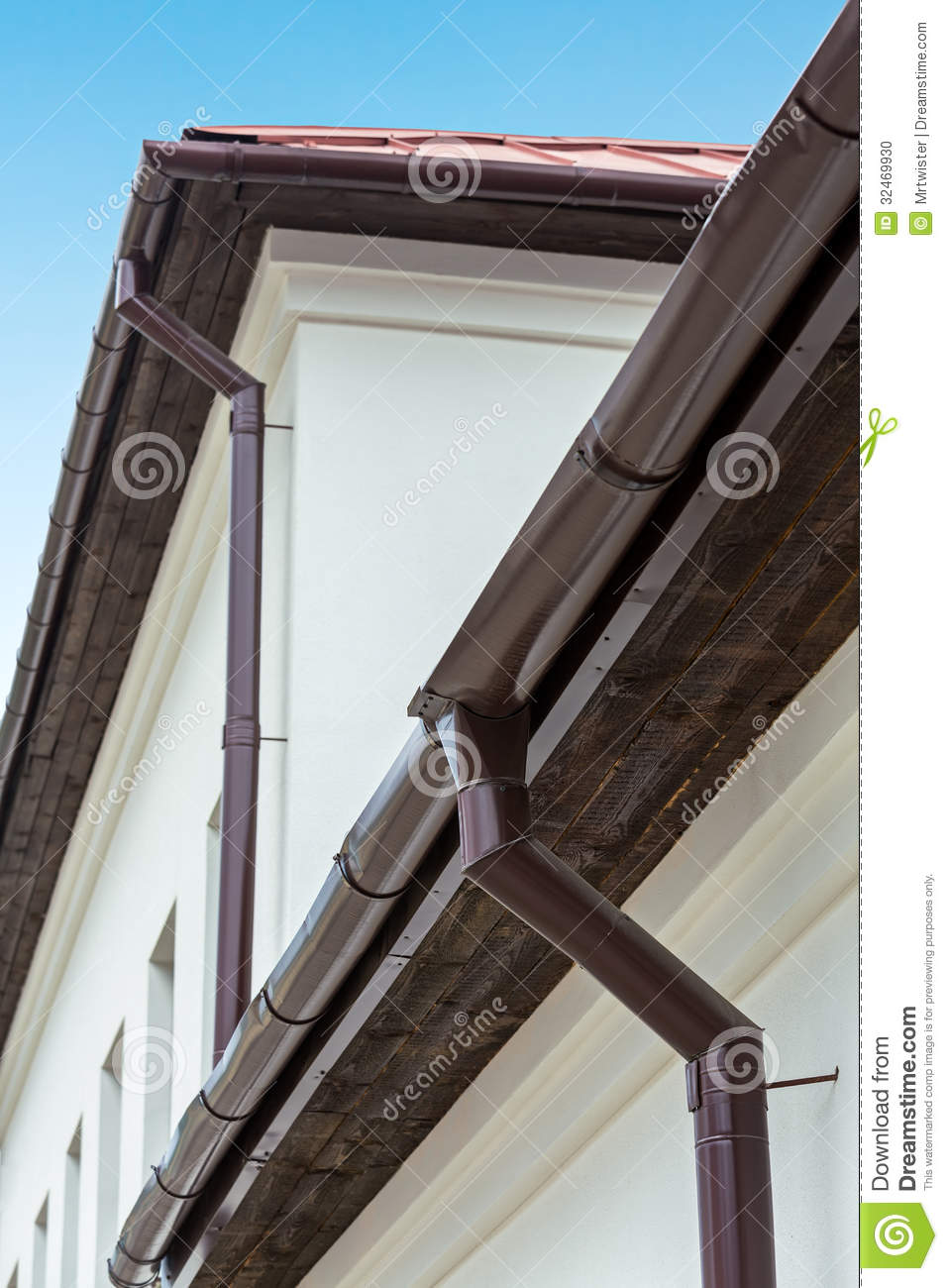 Eavestrough With Downspout Stock Photo Image Of