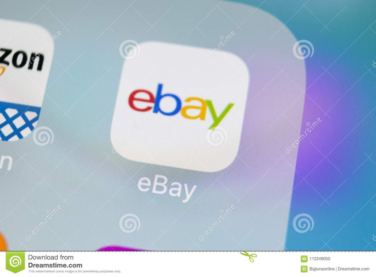 Ebay Application Icon On Apple Iphone X Screen Close Up Ebay App Icon Ebay Com Is Largest Online Auction And Shopping Websites Editorial Image Image Of March Monitor 112249050