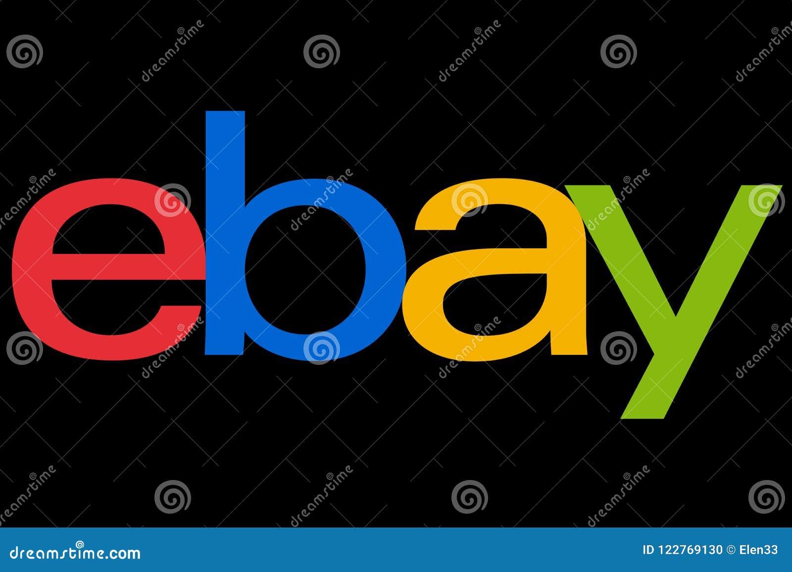 Ebay Logotype Printed On Paper On Black Background Editorial Image Illustration Of Global Advertising 122769130