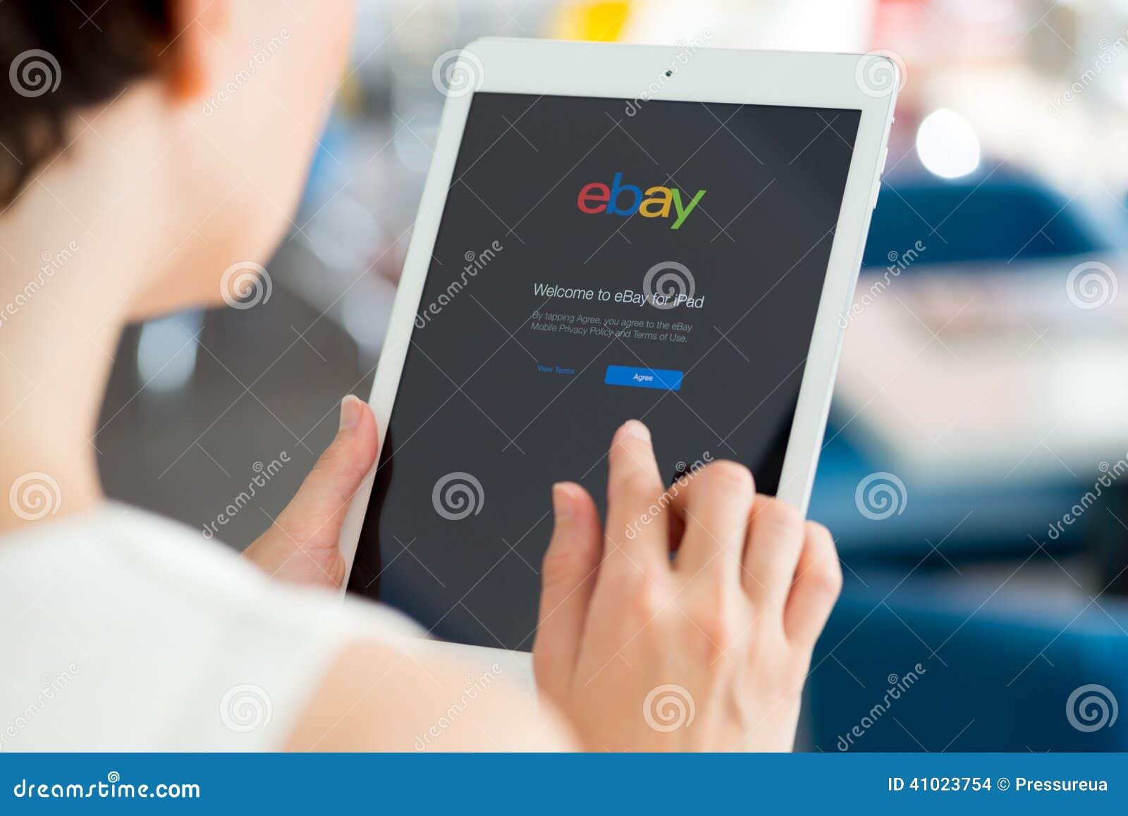 Ebay-toepassing op de Lucht van Apple iPad