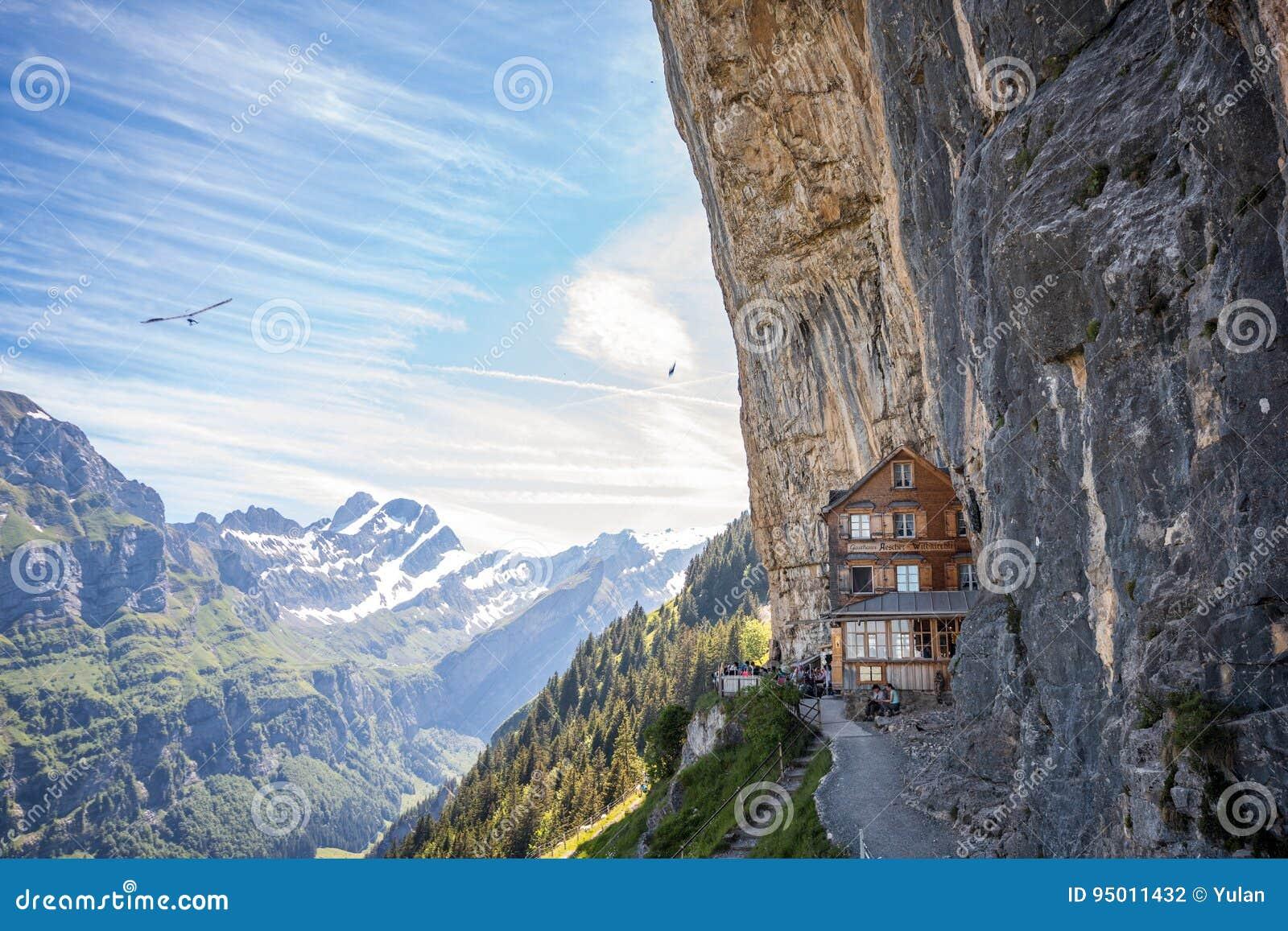 Ebenalp with its famous cliff inn Aescher, Switzerland