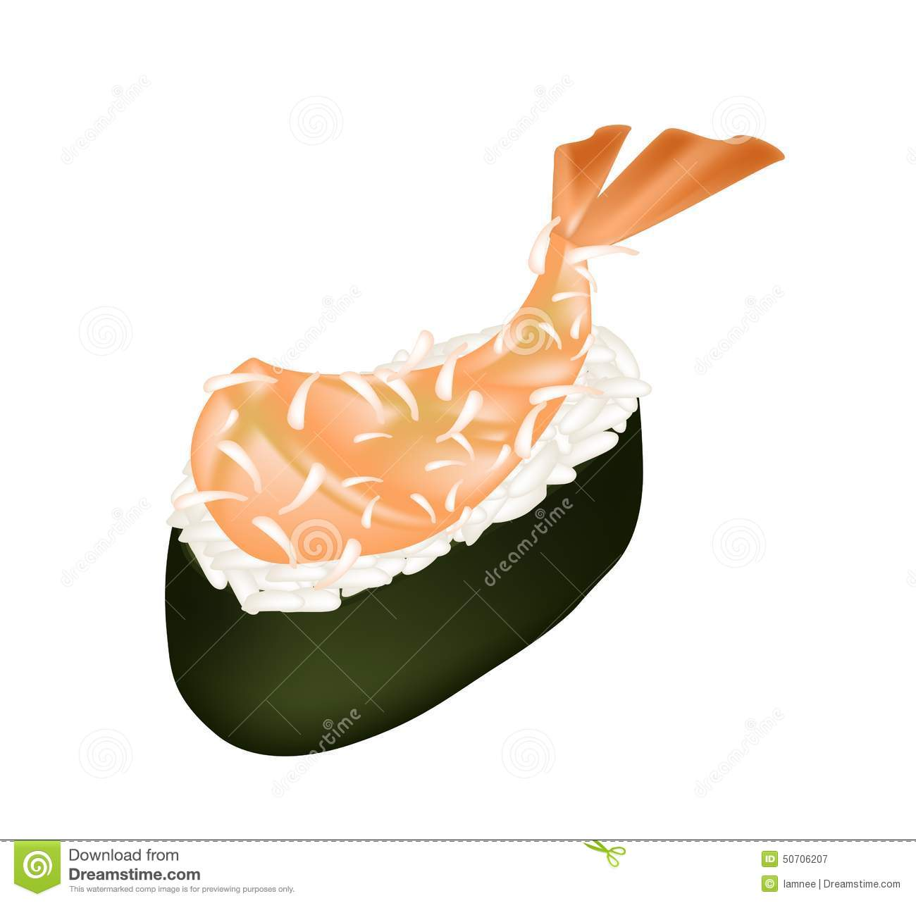 ebi tempura sushi or fried shrimp nigiri stock vector illustration rh dreamstime com Dishes Clip Art Snack Clip Art