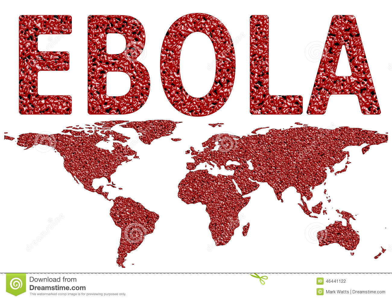 Ebola virus worldwide spread blood droplet textured map on an isolated ...