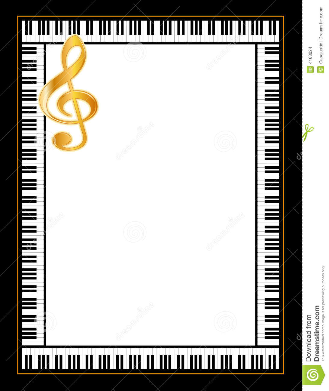 Grand piano keys border a golden treble clef. Copy space for music ...