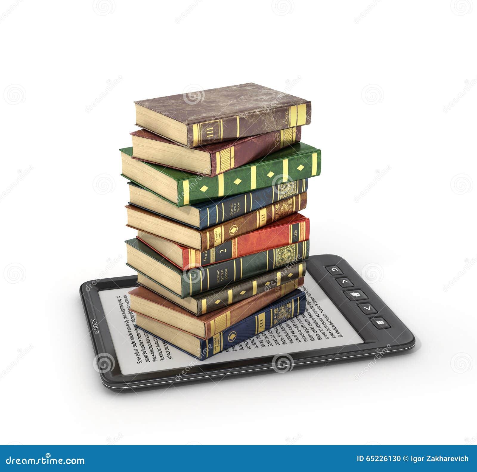 EBook czytelnik z stertą książka