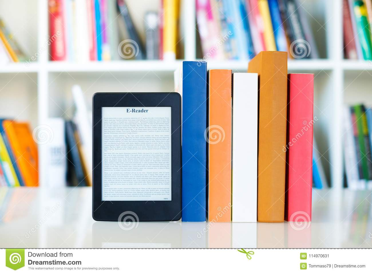 Ebook Reader And Paper Books On Bookshelf Background Download Preview