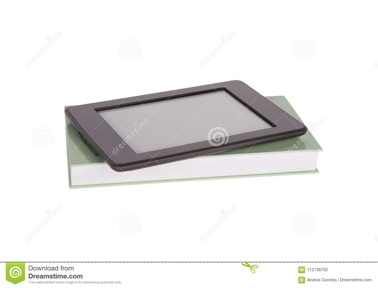 Ebook Reader Tablet With Blank Screen And A Paper Book