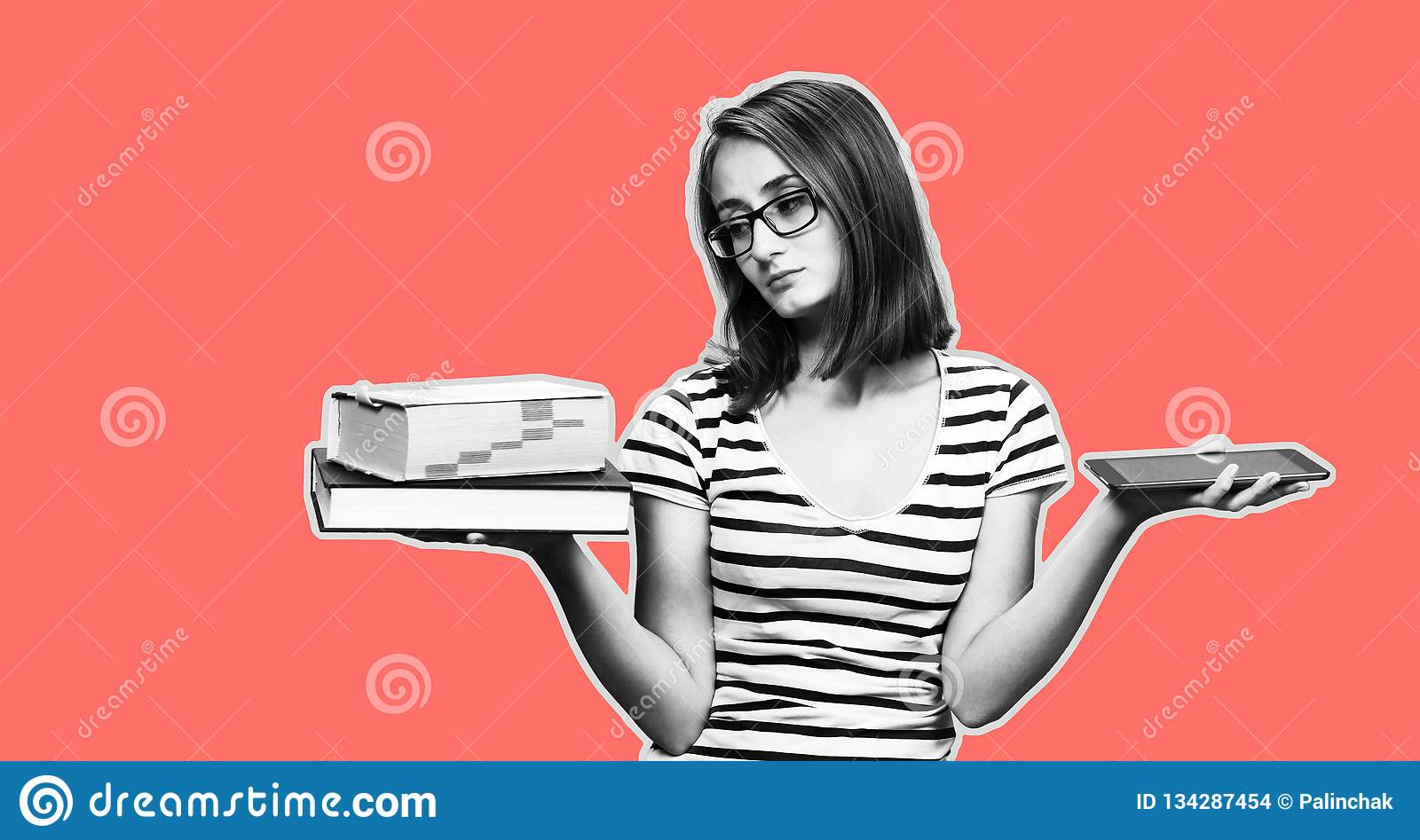 Ebook Vs Book Stock Photo Image Of School Technology